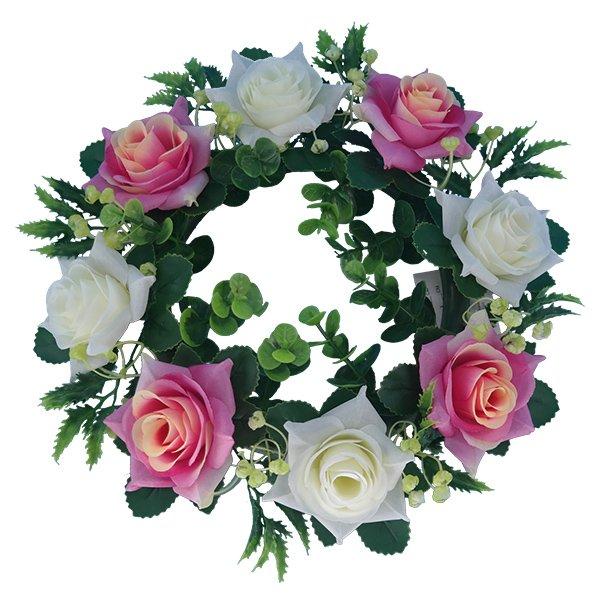 pink_Silk-Flowers-Wholesale-Artificial-Rose-Wreath