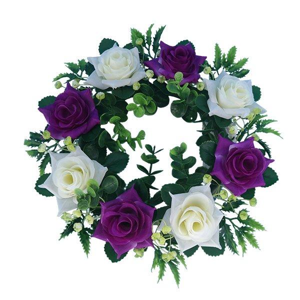 purple_Silk-Flowers-Wholesale-Artificial-Rose-Wreath